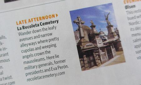 Recoleta Cemetery, Delta Sky magazine, March 2015